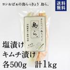 送料無料 沖縄 漬物 ヨシおばぁの手作り 島らっきょう 島ら。塩漬け・キムチ漬け 計1kg