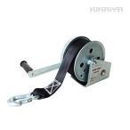 ハンドウインチ オートブレーキ付 ナイロンベルト8m 回転式ミニウインチ KIKAIYA