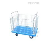 カゴ台車300kg メッシュ台車 ブレーキ付き 静音台車 両袖金網付 運搬車(個人様は営業所止め) KIKAIYA