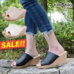 サンダル レディース サボ ミュール ウェッジソール 大きいサイズ 厚底 ハイヒール オープントゥ 歩きやすい スリッパ 黒 白 靴 kilakila