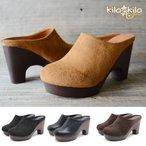 kilakila サボサンダル 太ヒール ミュール レディース カジュアル 厚底 スエード調 ハイヒール ラウンドトゥ 痛くない 歩きやすい つっかけ 靴