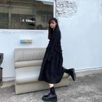 「個性的 ワンピース モード系ファッション 白 黒 長袖 体系カバー イベント オフ会 コスプレ ステージ衣装 10代 20代 30代 40代 50代」の画像