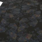 本場大島紬 黒地 正絹 7マルキ 新古品 葡萄 地紙 お仕立て上がり リサイクル お洒落着 カジュアル 着物 w1039