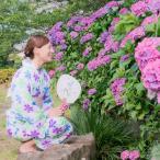 浴衣 レディース 雪花絞り 白地 紫 青 黄緑 花柄 レトロ アンティーク かわいい 古典柄 有松鳴海絞 綿 伝統工芸品 新品 仕立て上がり 夏祭り 裄69cm w360