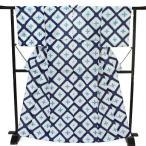 浴衣 レディース 雪花絞り 板締め絞り Mサイズ 白地 紺色 水色 格子 花柄 レトロ アンティーク 古典柄 有松鳴海絞 知多木綿 伝統工芸品 新品 仕立て上がり w368