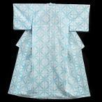 浴衣 レディース 雪花絞り 板締め絞り Mサイズ 白地 水色 麻の葉 レトロ アンティーク 古典柄 有松鳴海絞 知多木綿 伝統工芸品 新品 仕立て上がり 夏着物 w370