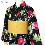 【max2000offクーポン】綿絽浴衣 そしてゆめ なでしこ 黒 レディース 30代 40代 50代 赤紫 緑 花 レトロ モダン 綿 絽 女性用 SALE-yukata