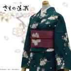 洗える着物 袷着物 ブランド【きもの道楽/深緑地に桜