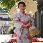 浴衣 帯 2点セット ブランド レディース フリーサイズ 水色地縞に薔薇と蝶柄 ピンク帯  送料無料 女性