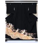 黒留袖 一越 正絹 比翼(化繊) 道長取りに吉祥柄 鶴に梅 156cm前後ベスト 美品