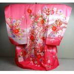 お宮参り着物 女児 初着 産着 ピンクぼかし刺繍 てまり 桜 束熨斗目