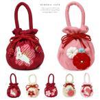 七五三 バッグ ふっくら桜飾り 巾着袋 黒 ピンク 赤 女児 753 三歳 五歳 七歳