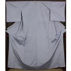 米沢ぜんまい紬 単衣 青グレー市松 ki17060 お仕立て上がり 夏のお出かけはお着物で