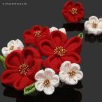 つまみ細工のお花の髪飾り3点セット「赤×白色 ふっくらつまみのお花」花 つまみ髪飾り 成人式 (78084) (メール便不可)