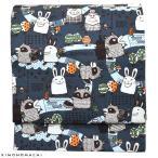 木綿 名古屋帯「ブルーグレー カチカチ山」カジュアル 長尺もあります 洒落帯 コットン名古屋帯 日本製