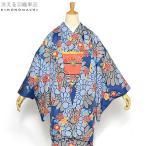 京都きもの町オリジナル 羽織単品「青色菊と梅」ブルー 花柄 S、F、TL、LL 女性羽織 ポリエステル 洗える羽織