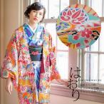 京都きもの町オリジナル 羽織単品「オレンジ古典花柄」オレンジ 花柄 S、F、TL、LL 女性羽織 ポリエステル 洗える羽織