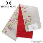 ハナエモリ 半幅帯「白色 南天」花火大会、夏祭りに 小袋帯 日本製 細帯 半巾帯