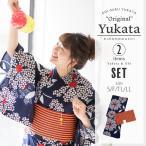 京都きもの町オリジナル 浴衣セット「ネイビー フラワー」お仕立て上がり浴衣 S、フリー、TL、LL 浴衣、帯の浴衣2点セット 女性浴衣 綿浴衣