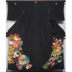 アンティーク 黒留袖 着物リメイク 素材用 花車に檜扇模様 下り藤紋 金駒刺繍 日本刺繍 五つ紋縮緬 人形 正絹 紅絹 送料無料 中古 リサイクル アンティーク 着物