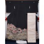 着物セット 黒留袖・袋帯・長襦袢 3点 セット 波頭に松・梅・水草模様 丸に三つ蔓柏 送料無料 中古 リサイクル着物 留め袖 結婚式 留袖 購入