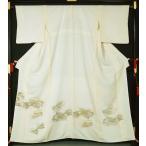 色留袖 (比翼無し訪問着格) 寿光織 色紙に東海道五十三次模様 紋無し 巾広 ★ 送料無料