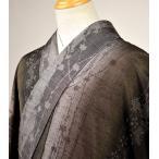 単衣 結城紬 マット系ブラウン 桜 L〜LLサイズ 丈175 裄73 トールサイズ 裄かなり長め 【仕立て上がり 正絹 単衣 未使用品】