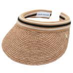 ヘレンカミンスキー サンバイザー Marina Nougat/Black Stripe マリーナ UPF50+ ラフィア製ハット レディス帽子