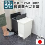 ダストボックス ゴミ箱 20L 幅22cm キッチン 分別 キャスター付き 足踏み デザイン ふた付き ペダル式 観音開き 両開き 蓋つき コンパクト ペダル おしゃれ