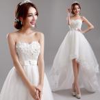 花嫁 ミニドレス ウエディングドレス 二次会 白 ビス