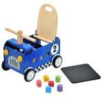 ショッピングおもちゃ 木のおもちゃ I'm TOY アイムトイ 手押し車/乗用玩具 ウォーカー&ライド レースカー ブルー