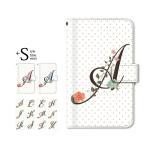 手帳型ケース iPod TOUCH 7 6 5 / イニシャル 頭文字 ドット フラワー for iPod TOUCH 第7 6 5世代 手帳 ケース カバー
