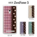 ZenFone 5 (A500KL) ケース カバー / ハーリキン・チェックと四葉 クローバー for ASUS ZenFone5 (ゼンフォン5/zen fone5/スマホケース/asus/エイスース)