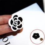 ブローチ カメリア ジルコニア 一粒Czダイヤモンド ブラック ホワイト フラワー 白 黒 小物 クラシカル 可愛い