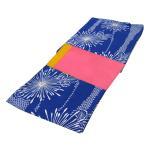 レディース 浴衣 2点 セット フリーサイズ 鹿の子に糸菊の花(紺色地) ピンク色×黄色のリバーシブル帯 [y3344] ゆかた コーディネート 帯