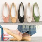ショッピングフラット フラットシューズ レディース リボン スクエアトゥ おしゃれ トレンド 人気 韓国 ファッション 黒 アイボリー ベージュ 緑 ピンク