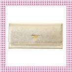 Yahoo!綺麗屋さんプラダ PRADA 二つ折り長財布 サフィアーノカーフ SAFFIANO TRIANG-1MH132-ゴールド/PLATINO