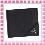 Yahoo!綺麗屋さんプラダ PRADA コンパクト 二つ折り財布 サフィアーノカーフ SAFFIANO METAL-2MO738-ブラック/NERO
