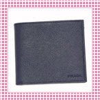 Yahoo!綺麗屋さんプラダ PRADA コンパクト 二つ折り財布 サフィアーノカーフ SAFFIANO-2MO738-ネイビーブルー/BALTICO