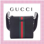 グッチ GUCCI GGスプリーム キャンバス シェリーウェブ メッセンジャーバッグ-387111-ブラック/BLACK