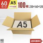 ダンボール箱60サイズA5(段ボール箱)100枚 便利線入り(外寸:230×160×120mm)(3ミリ厚)(あすつく)