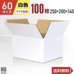 白色ダンボール箱60サイズ(段ボール箱)100枚(外寸:250×200×140mm)(3ミリ厚)(あすつく)