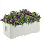 リッチェル タウンプランターWS 100型 くしびき + 楽育彩園 公共用培養土・液肥セット 40 ×2箱  サンドグレー(SG)