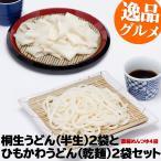 うどん 桐生うどん 270g×2 と ひもかわうどん 帯麺 170g×2 濃縮めんつゆ4袋セット うどん ポイント消化