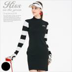 軽量ニット袖ボーダージャガードワンピース/ゴルフ ウェア レディース 女性用