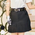 ゴルフウェア レディース スカート モノトーン配色 丈長め / 裾切り替えデシンプリーツスカート / インナーパンツ付き 裏地付き