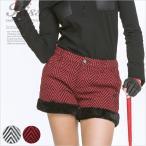 ヘリンボーンツイードファー付きショートパンツ/ゴルフ ウェア レディース 女性用