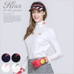 ハート刺繍入りハイネック長袖トップス/ゴルフ ウェア レディース 女性用