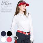 襟ビジュー付き長袖綿鹿の子ポロシャツ/ゴルフ ウェア レディース 女性用