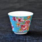 台湾茶器 茶杯 花布柄 ブルー